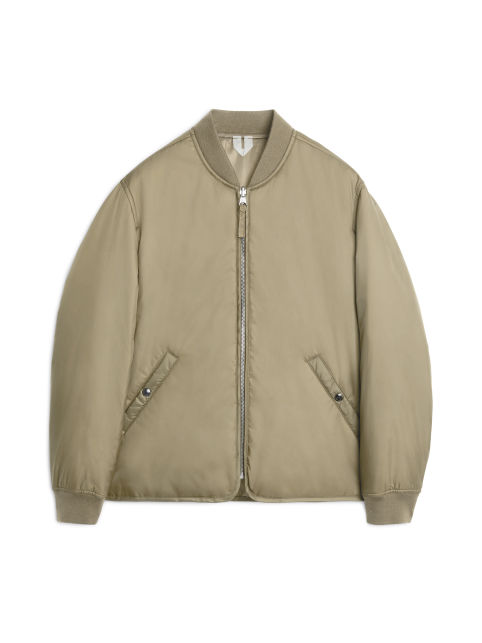 Front image of Arket nylon liner jacket in beige