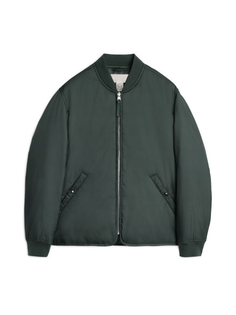 Front image of Arket nylon liner jacket in green