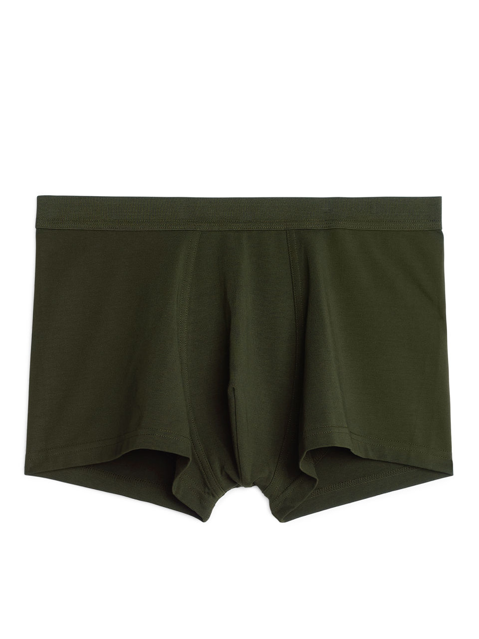 Front image of Arket pima cotton trunks in green