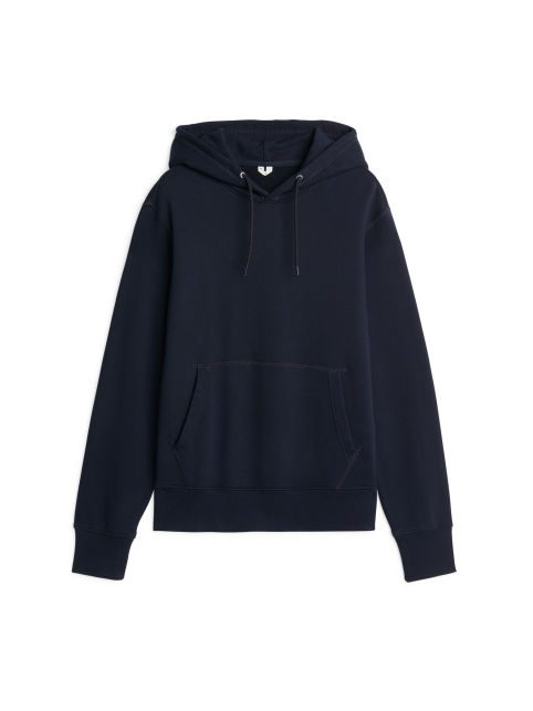 Front image of Arket 340 gsm french terry hoodie in blue