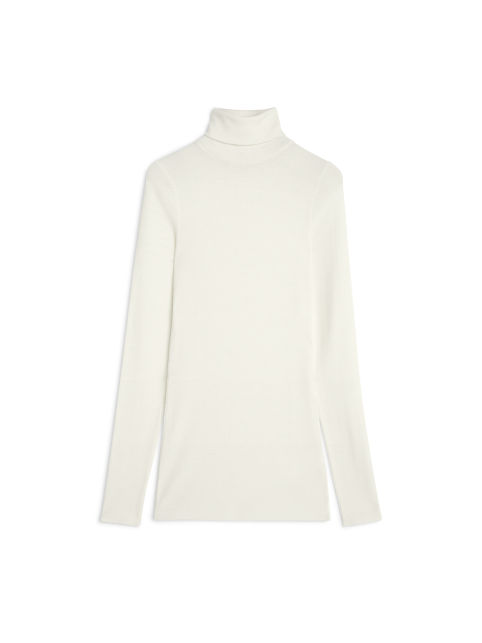 Front image of Arket sheer merino wool roll-neck in white