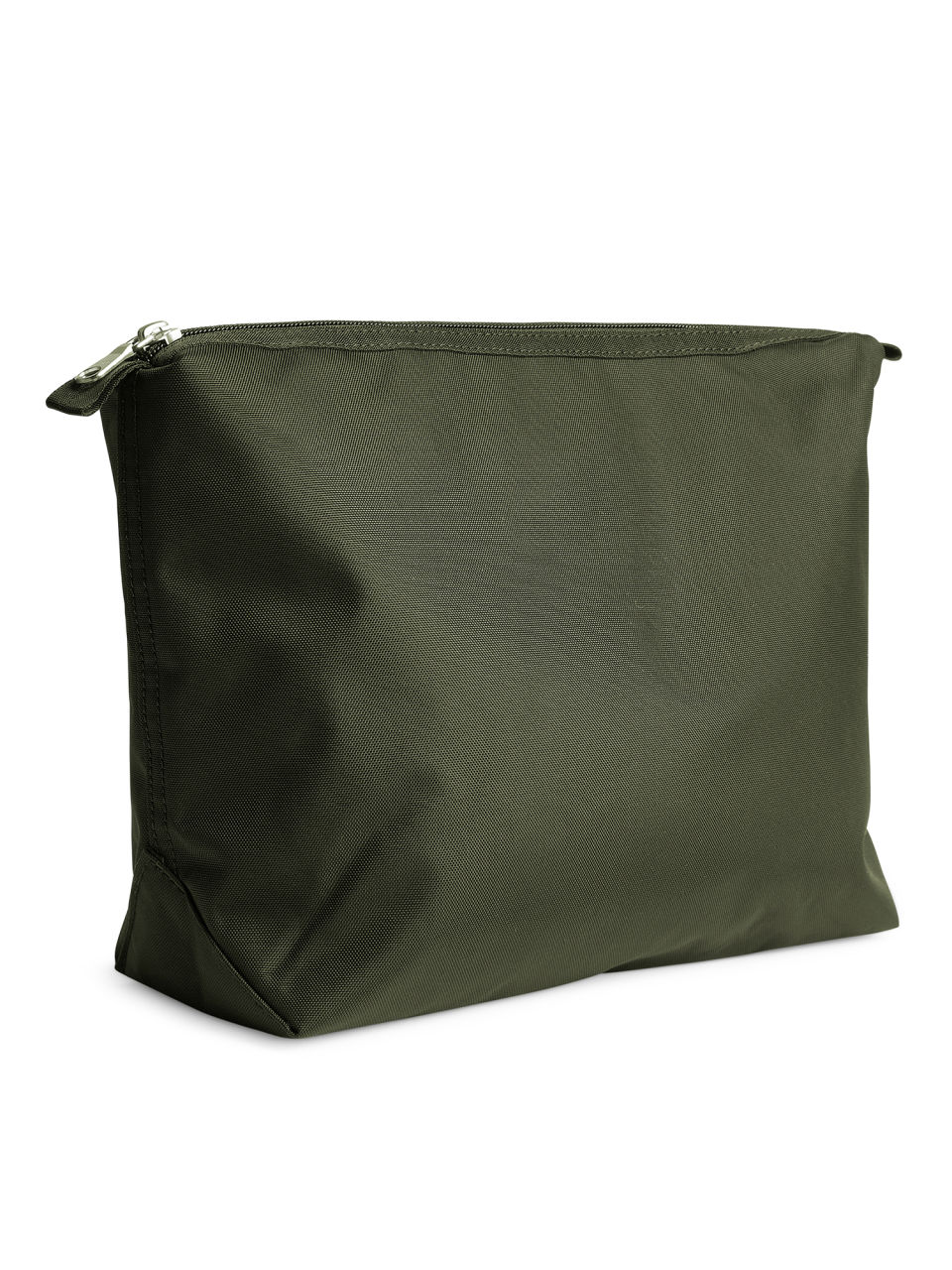 Side image of Arket large toiletry bag in green