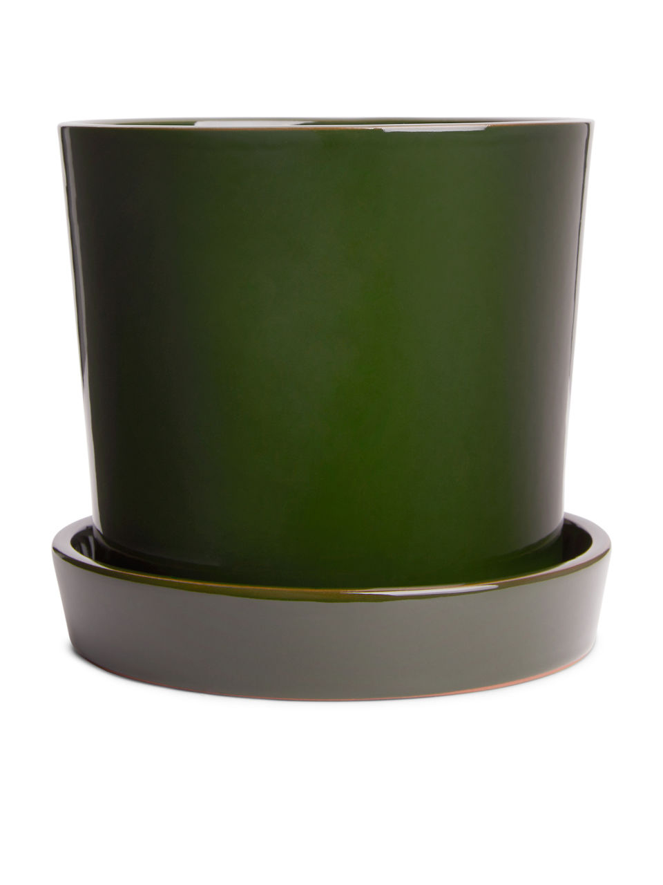 Side image of Arket terracotta flower pot, large in green