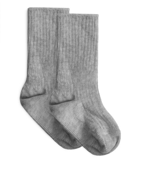 Rib-Knitted Socks, 2-pack