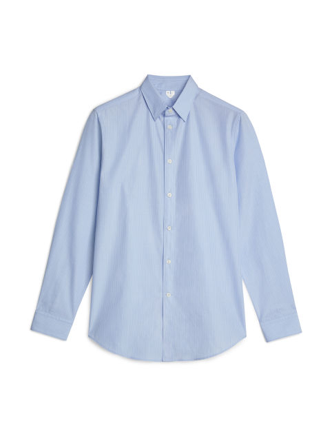 Front image of Arket shirt 7 striped fil-à-fil in blue
