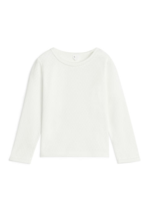 Pointelle Long-Sleeve T-Shirt