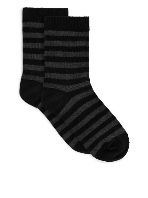 Jacquard-Knitted Socks, 2 Pairs