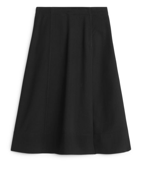 Fluid Wool Wrap-Skirt
