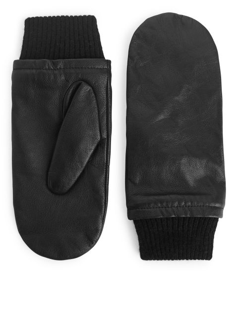 Cashmere-Lined Leather Mittens