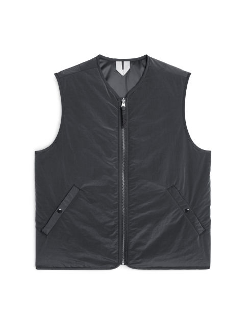 Front image of Arket nylon liner vest in grey