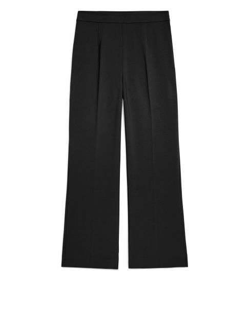 Front image of Arket cropped cotton trousers in black