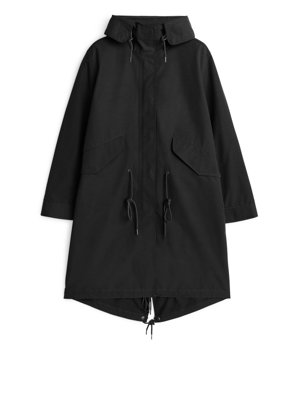 Front image of Arket fishtail parka in black
