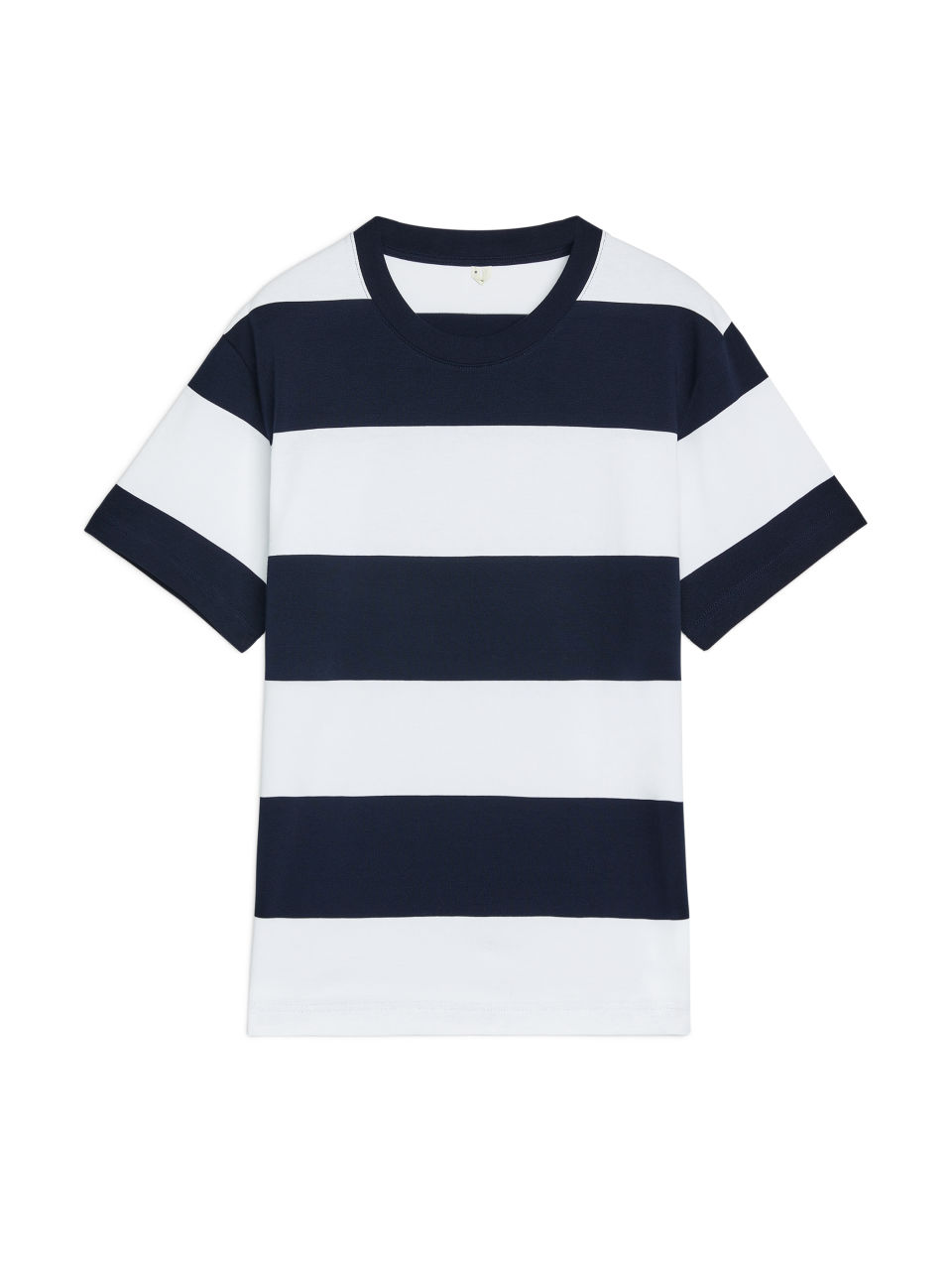 Front image of Arket block stripe cotton t-shirt in blue