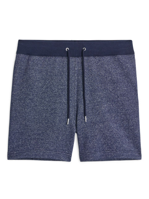 Front image of Arket french terry shorts in blue