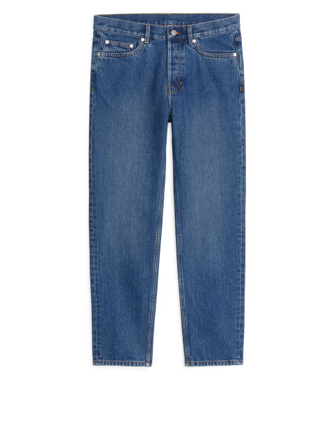 Cropped Mid-Wash Jeans