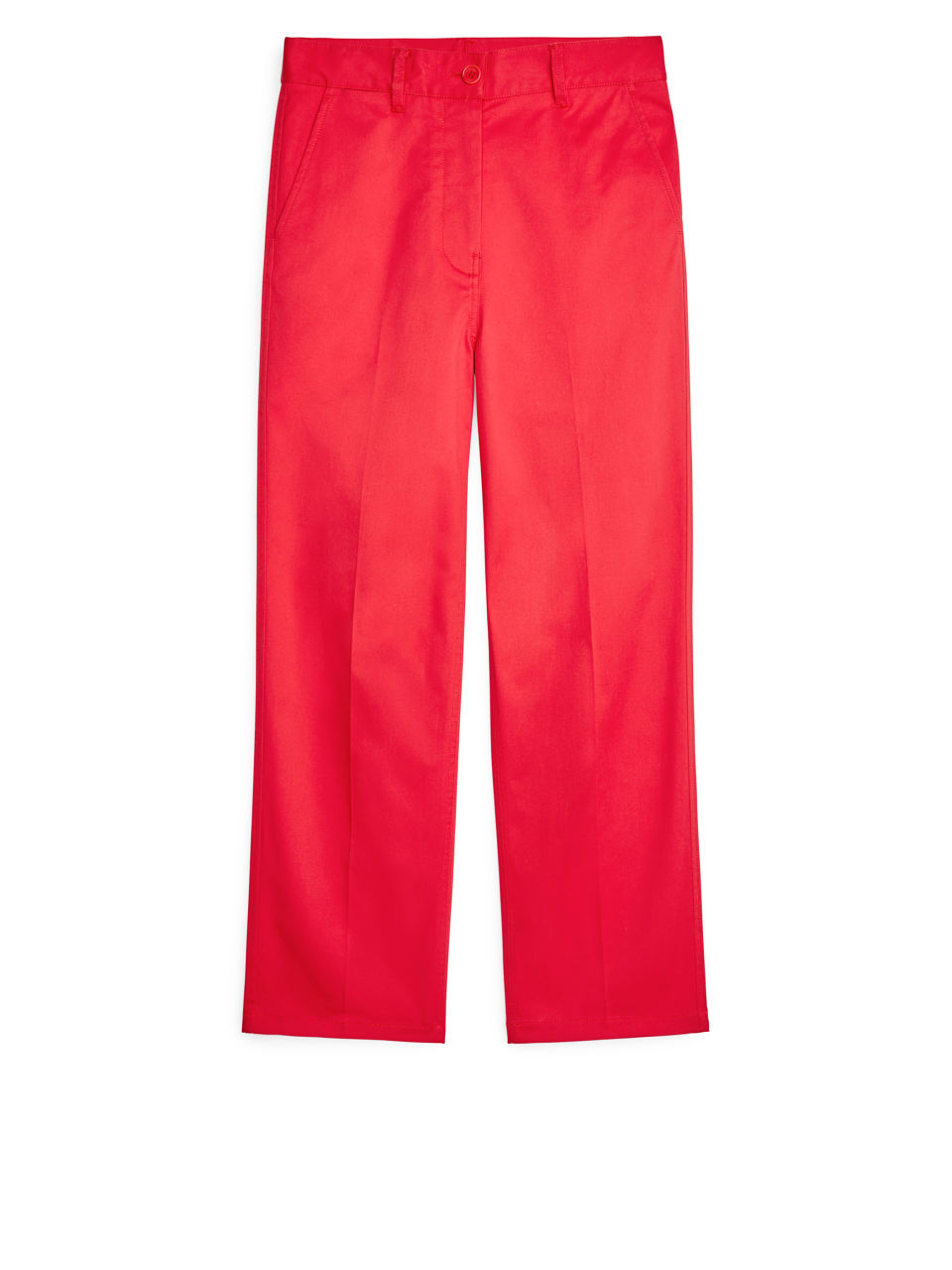 Front image of Arket wide-leg twill trousers in red