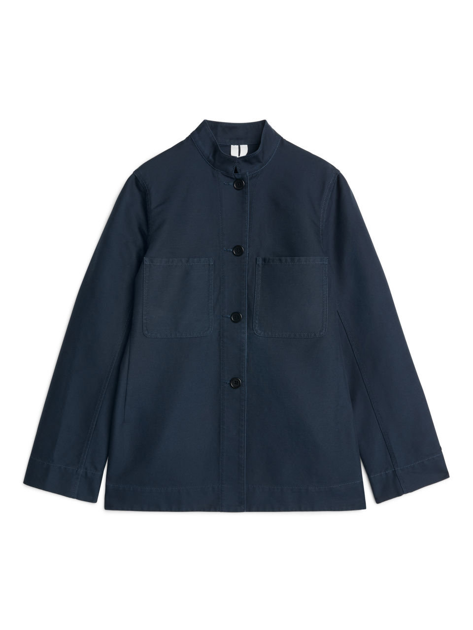 Front image of Arket cotton workwear jacket in blue