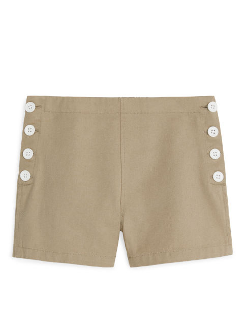 Buttoned Twill Shorts