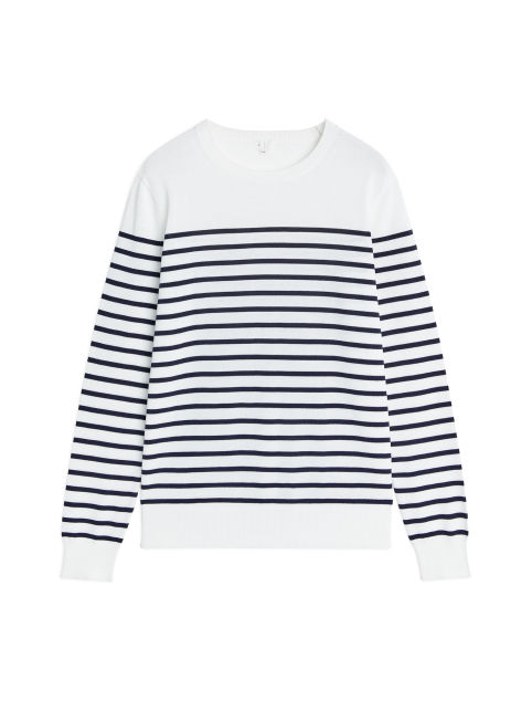 Front image of Arket pima cotton crew-neck jumper in white