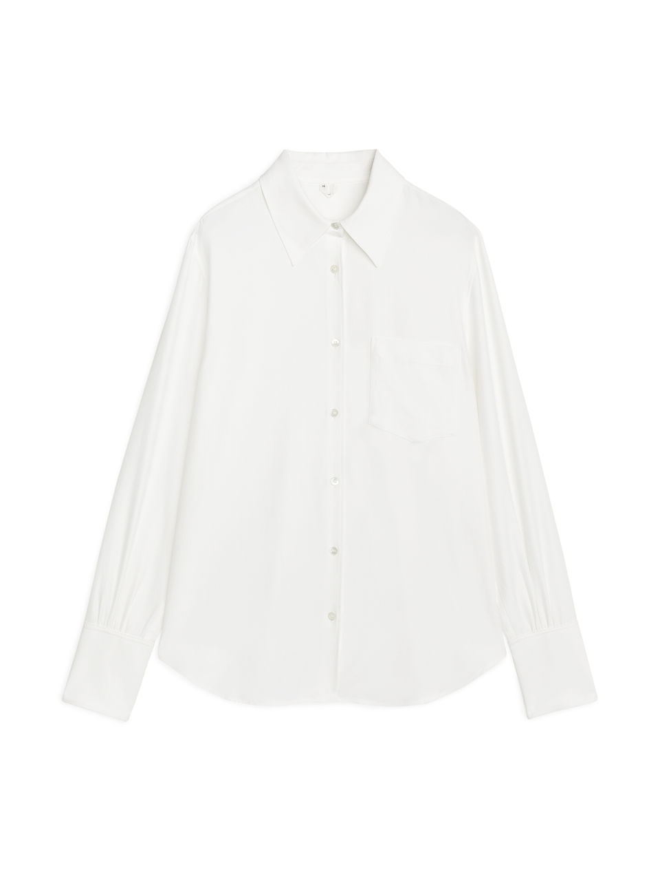 Front image of Arket fluid twill blouse in white