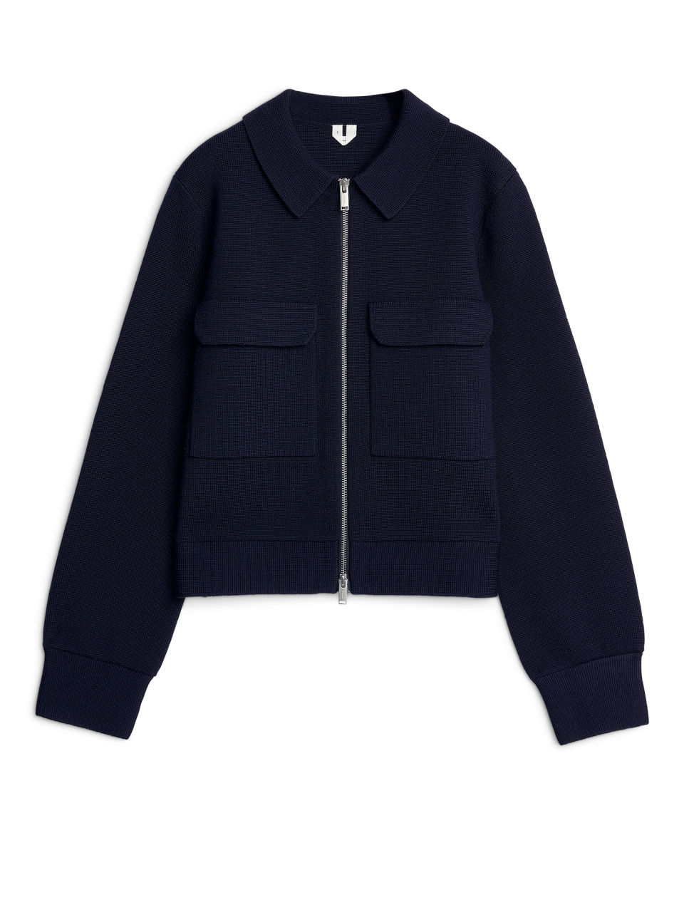 Front image of Arket merino box jacket in blue