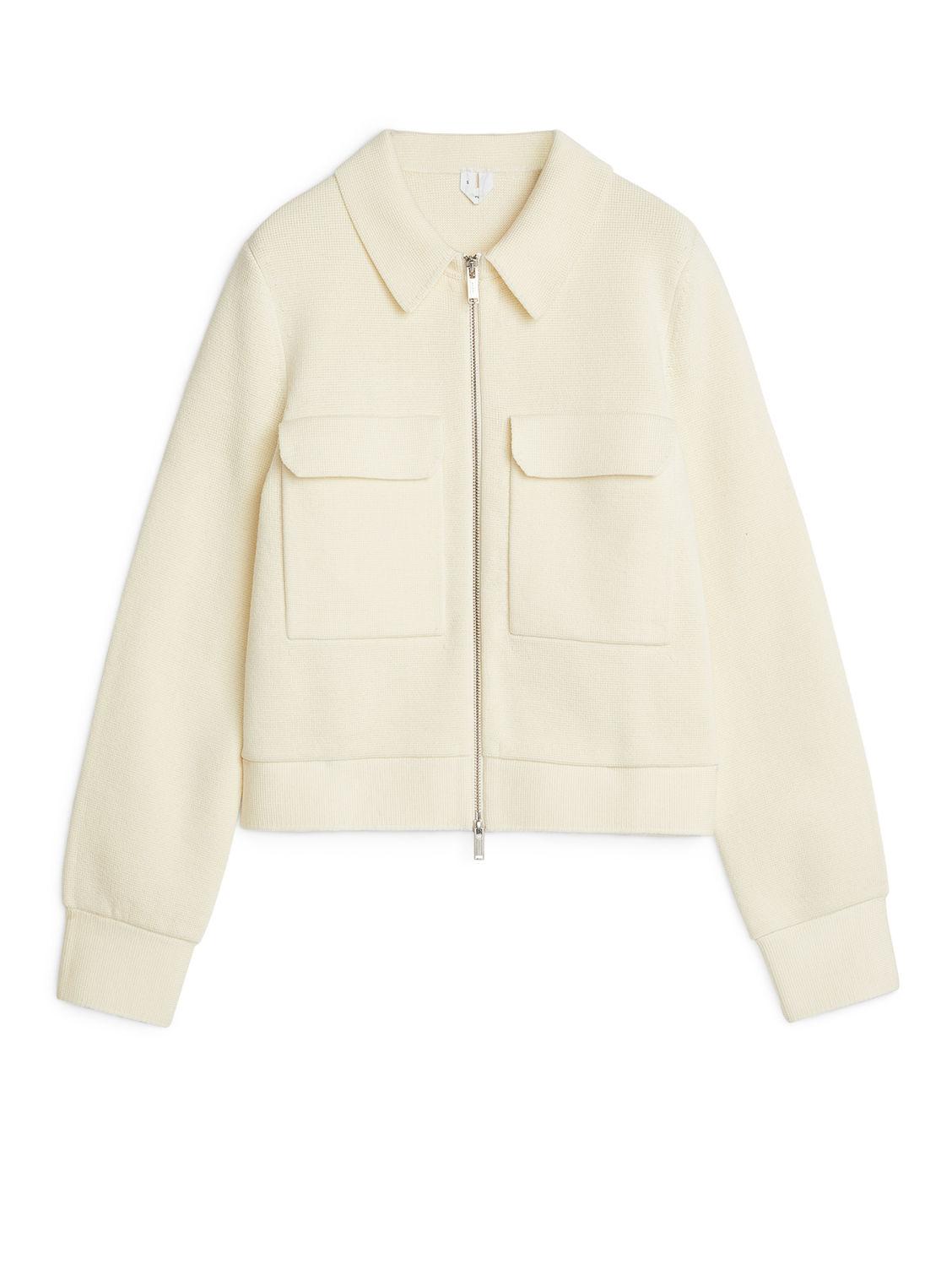 Merino Box Jacket Off White Knitwear ARKET