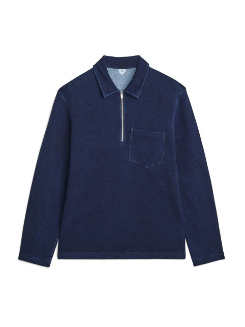 Indigo French Terry Half-Zip