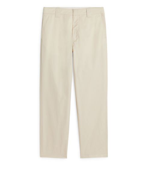 Front image of Arket lightweight work trousers in beige