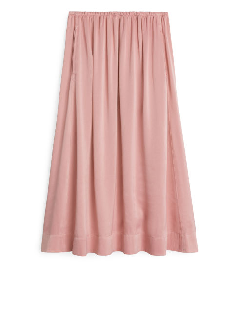 Washed Satin Skirt