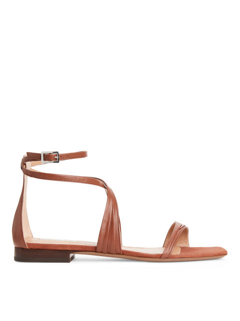 Flat Ankle-Wrap Leather Sandal