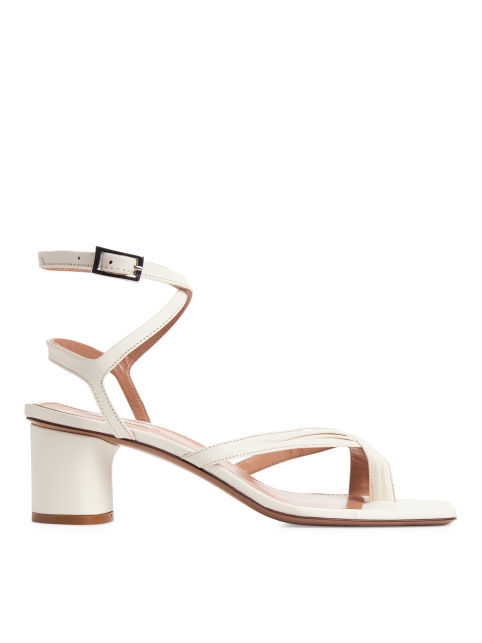 Front image of Arket ankle-wrap leather sandal in white