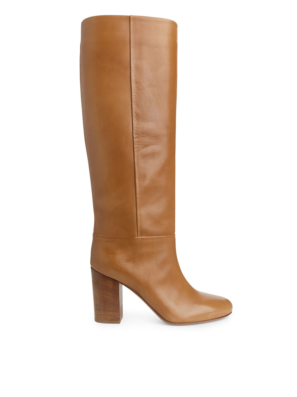 Front image of Arket high-heel leather boots in orange
