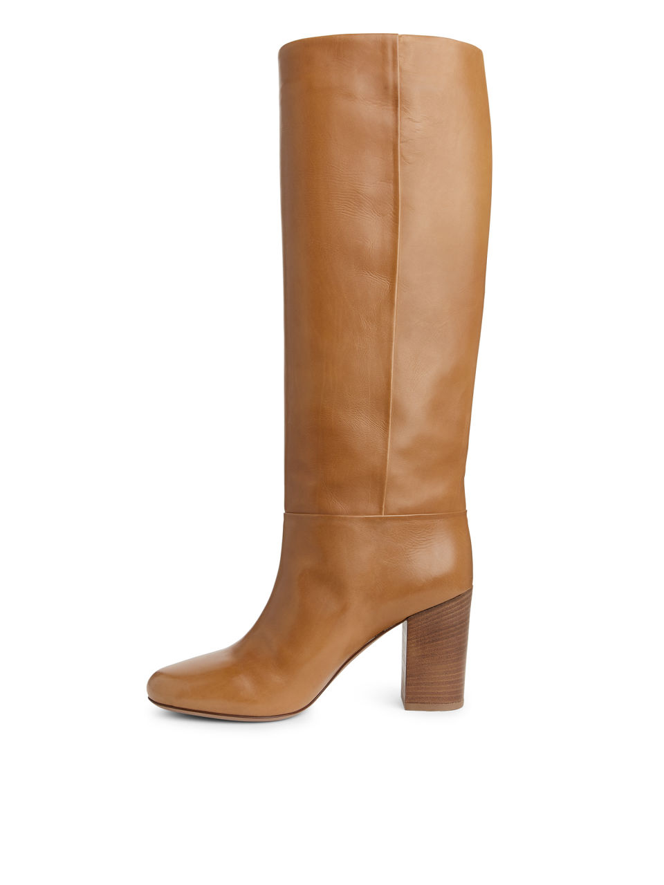 Side image of Arket high-heel leather boots in orange