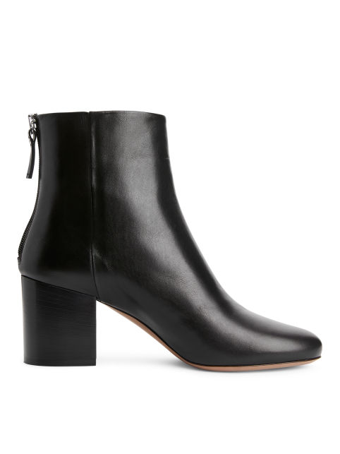 Mid-Heel Leather Boots