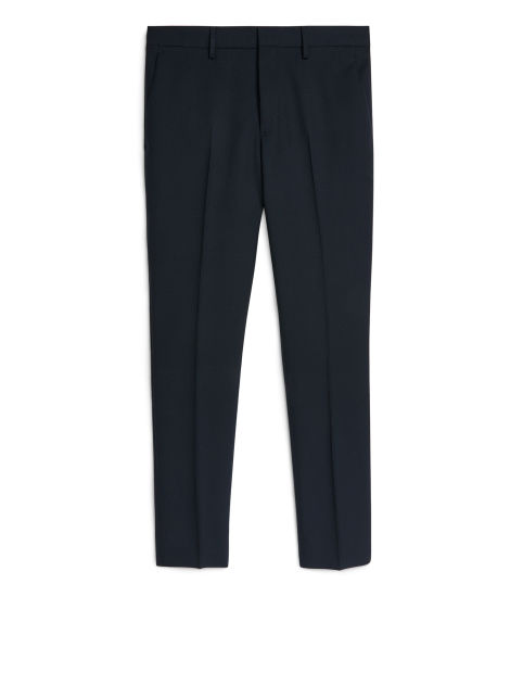 Front image of Arket slim tailored wool trousers in blue