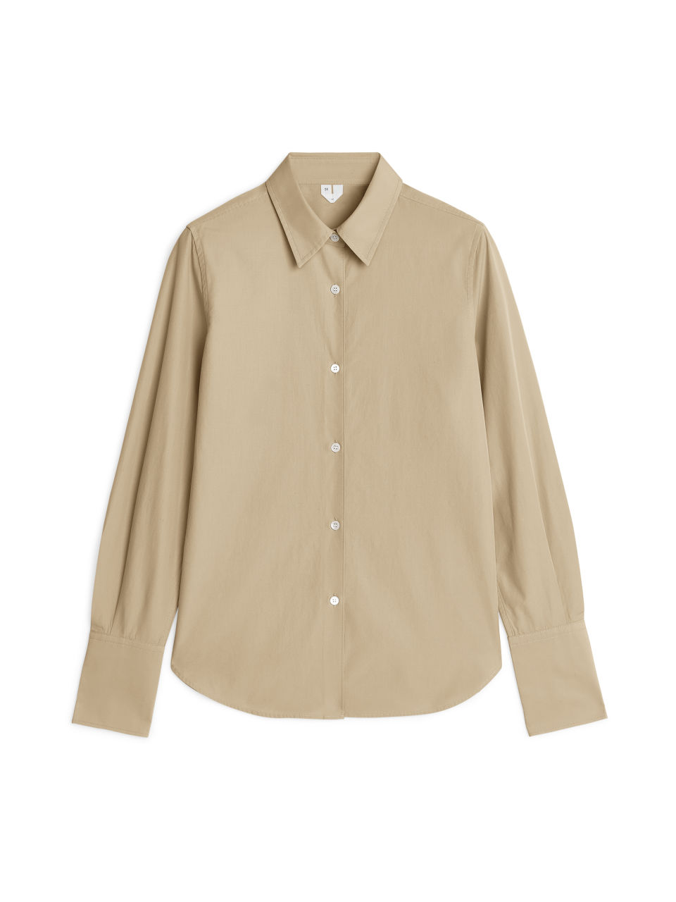 Front image of Arket slim poplin shirt in beige