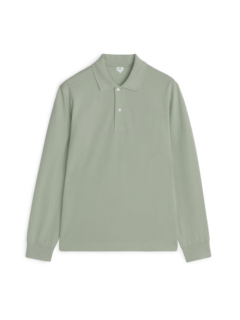 Piqué Long-Sleeve Polo Shirt