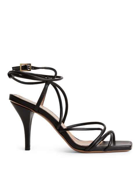 High-Heel Leather Strap Sandal