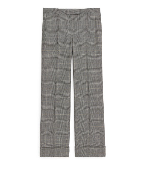 Checked Wool Blend Trousers