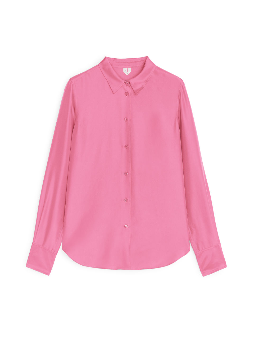 Front image of Arket slim silk shirt in pink