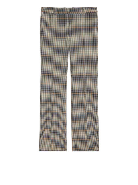 Checked Stretch-Wool Trousers