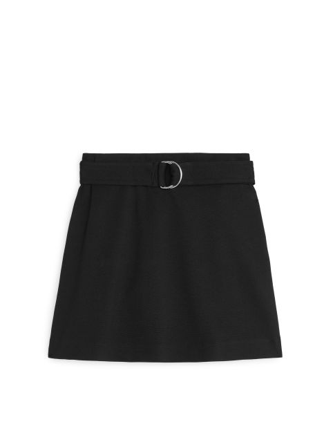Front image of Arket interlock jersey mini skirt in black