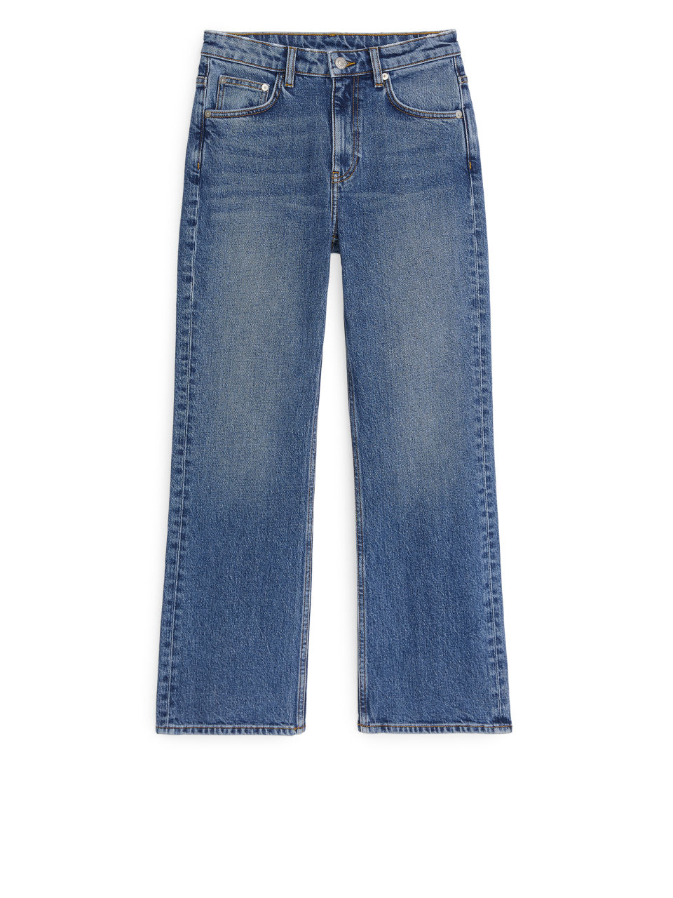 Front image of Arket cropped denim trousers in blue