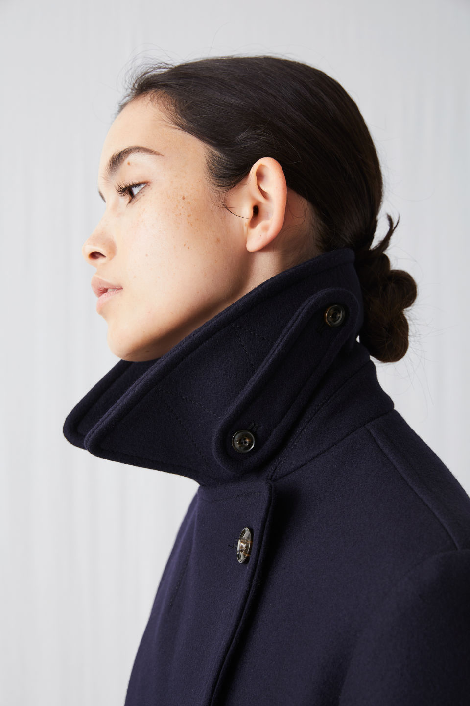 Detailed image of Arket melton wool pea coat in blue