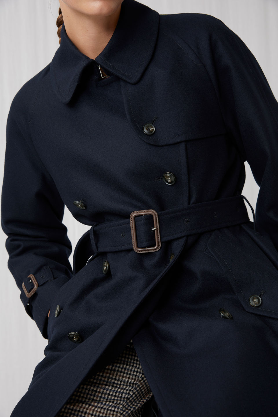 Detailed image of Arket long wool trench coat in blue
