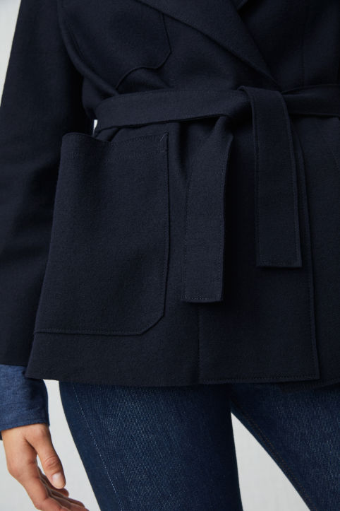 Belted Wool Jersey Jacket