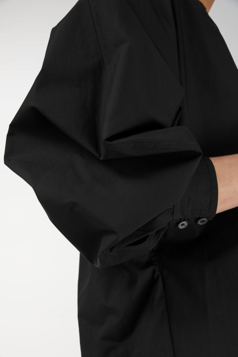 Ruched-Collar Shirtdress