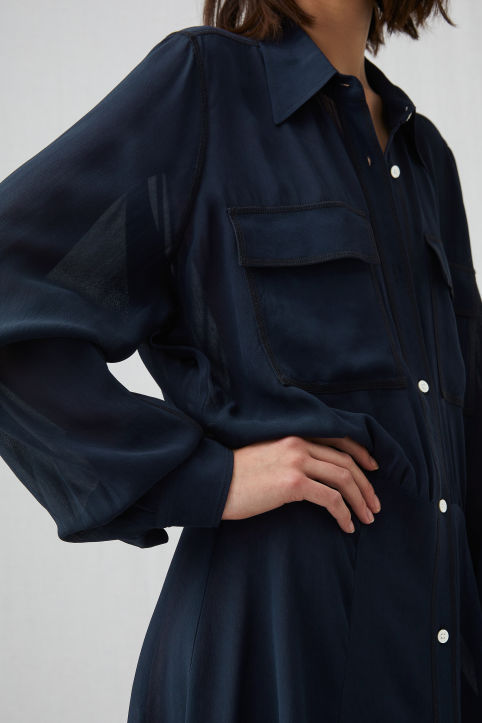 Viscose Crêpe Shirt Dress