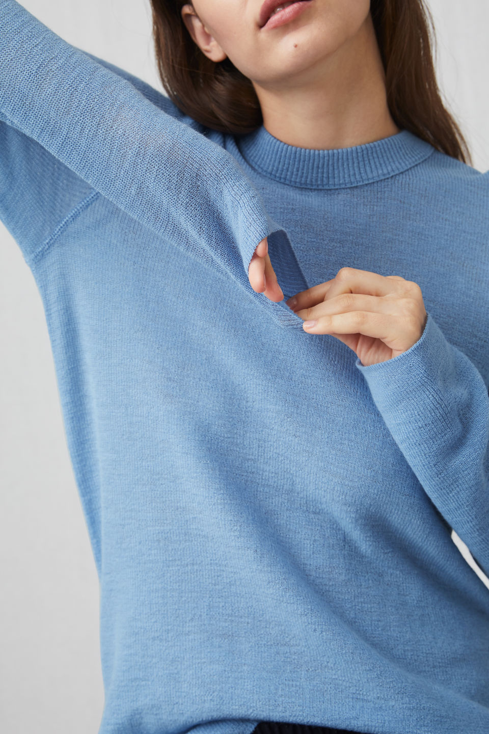 Detailed image of Arket wool crew-neck jumper in blue