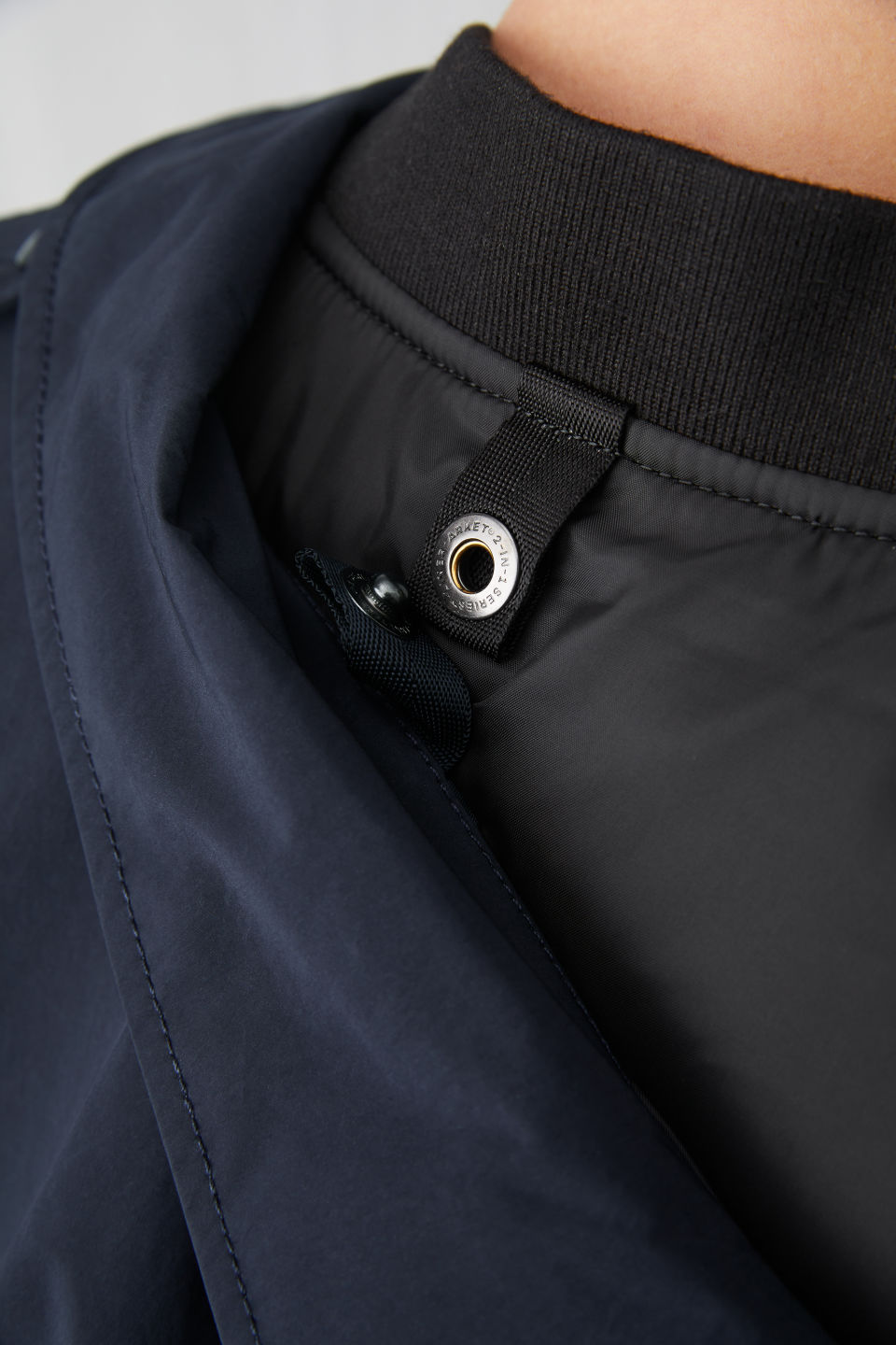Detailed image of Arket lightweight field jacket in blue